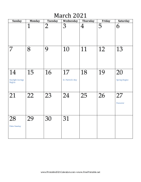 March 2021 Calendar (vertical) Calendar