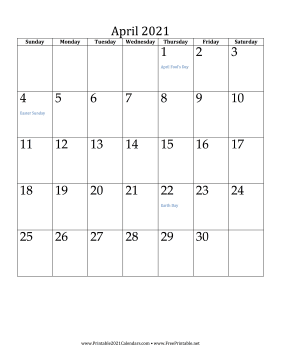 April 2021 Calendar (vertical) Calendar