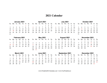 2021 Calendar One Page Horizontal Descending Holidays In Red Calendar