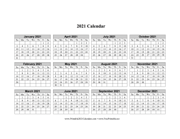 2021 Calendar One Page Horizontal Grid Descending Calendar