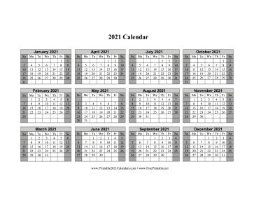 2021 Calendar One Page Horizontal Grid Descending Shaded Weekends Calendar