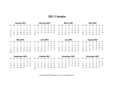 2021 Calendar One Page Horizontal Holidays In Red Calendar