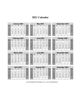 2021 Calendar One Page Vertical Grid Descending Shaded Weekends Calendar