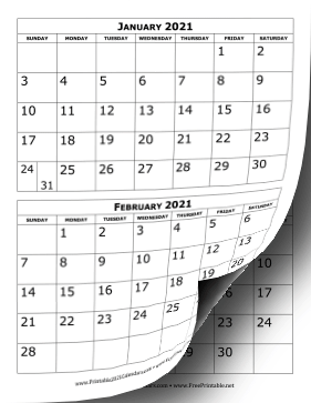 Printable 2021 Calendar Two Months Per Page
