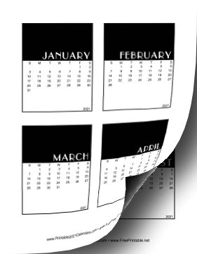 2021 Vertical Scrapbook Calendar Cards Calendar