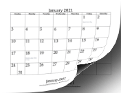 2021 Bottom Month calendar