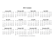 2021 Calendar One Page Large Horizontal calendar