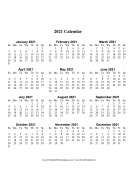 2021 Calendar One Page Large Vertical calendar