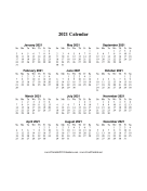 2021 Calendar One Page Vertical Descending calendar