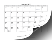 2021 Grayed Dates calendar