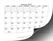 2021 Grayed Out calendar